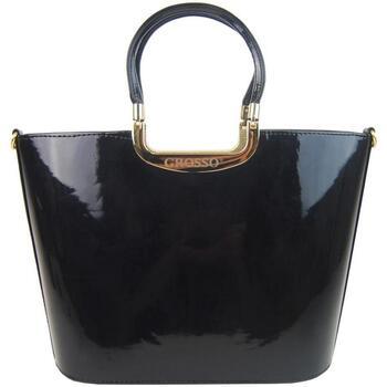 Taška Ženy Kabelky  Grosso Luxusní kabelka černá lakovaná S7 zlaté kování černá