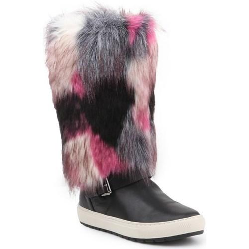 Boty Ženy Zimní boty Geox D Breeda F Černé, Šedé, Růžové