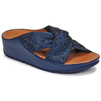 Boty Ženy Sandály FitFlop TWISS CRYSTAL SLIDE Modrá