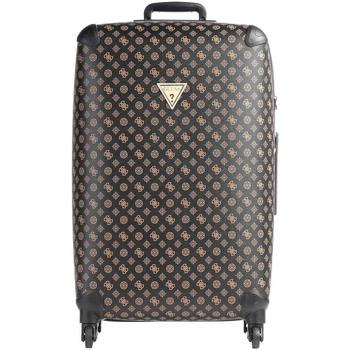 Taška Tašky Guess kufr Wilder Peony Logo brown Hnědá