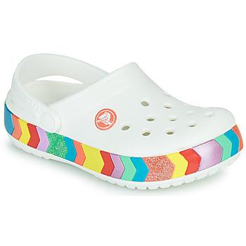 Boty Dívčí Pantofle Crocs CROCBAND CHEVRON BEADED CLOG K Bílá / Vícebarevná