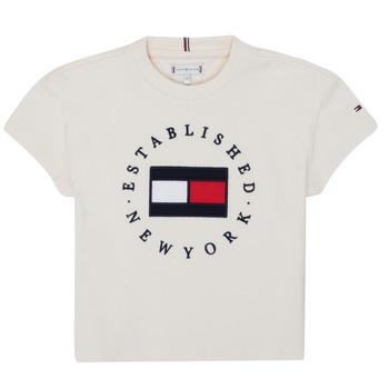 Textil Dívčí Trička s krátkým rukávem Tommy Hilfiger KG0KG05503-Z00-J Béžová