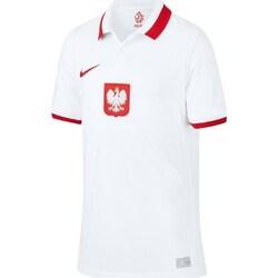 Textil Chlapecké Polo s krátkými rukávy Nike JR Polska Breathe Home 2021 Bílé