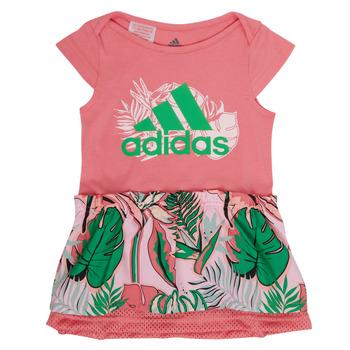 Textil Dívčí Krátké šaty adidas Performance FLOWER DRESS Růžová