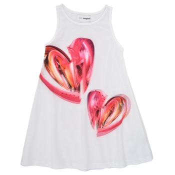 Textil Dívčí Krátké šaty Desigual 21SGVK12-1000 Bílá
