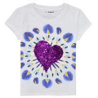 Textil Dívčí Trička s krátkým rukávem Desigual 21SGTK45-1000 Bílá