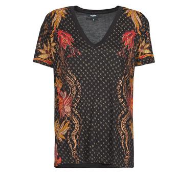 Textil Ženy Trička s krátkým rukávem Desigual PRAGA Černá