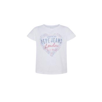 Textil Dívčí Trička s krátkým rukávem Pepe jeans PIPER Bílá