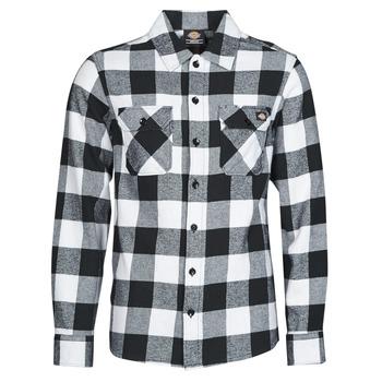 Textil Muži Košile s dlouhymi rukávy Dickies NEW SACRAMENTO SHIRT BLACK Černá / Bílá