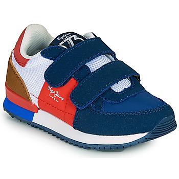 Boty Chlapecké Nízké tenisky Pepe jeans SYDNEY TREND BOY KIDS SS21 Modrá / Červená