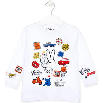 Textil Děti Trička s dlouhými rukávy Losan 025-1026AL Bílý