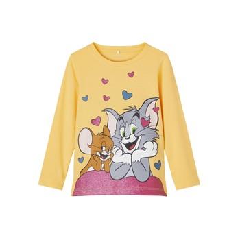 Textil Dívčí Trička s dlouhými rukávy Name it TOM&JERRY Žlutá