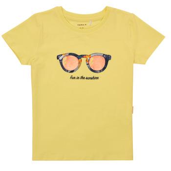 Textil Dívčí Trička s krátkým rukávem Name it NMFFISUMMER Žlutá