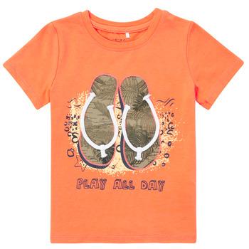 Textil Chlapecké Trička s krátkým rukávem Name it NMMFASHO Oranžová
