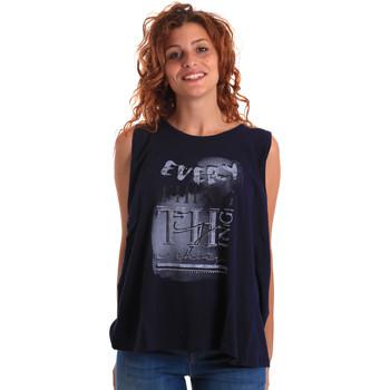 Textil Ženy Tílka / Trička bez rukávů  Key Up 5Z14S 0001 Modrý