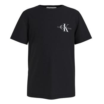 Textil Chlapecké Trička s krátkým rukávem Calvin Klein Jeans CHEST MONOGRAM TOP Černá