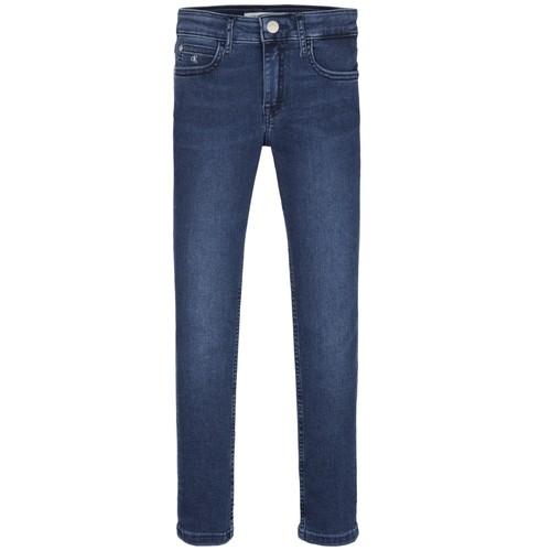 Textil Dívčí Rifle skinny Calvin Klein Jeans SKINNY ESS ROYAL BLUE Modrá