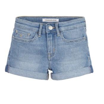 Textil Dívčí Kraťasy / Bermudy Calvin Klein Jeans SLIM SHORT ESS Modrá