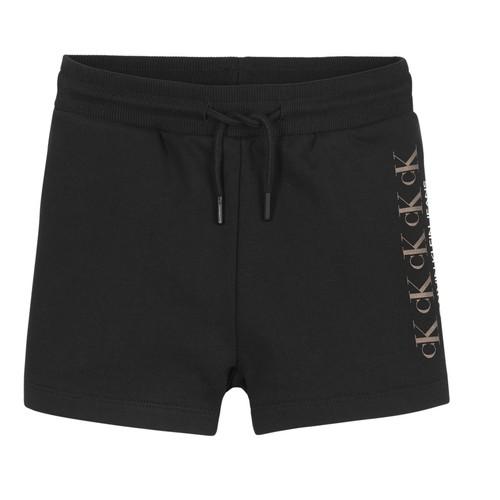 Textil Dívčí Kraťasy / Bermudy Calvin Klein Jeans CK REPEAT FOIL KNIT SHORTS Černá
