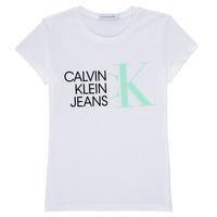 Textil Dívčí Trička s krátkým rukávem Calvin Klein Jeans HYBRID LOGO SLIM T-SHIRT Bílá