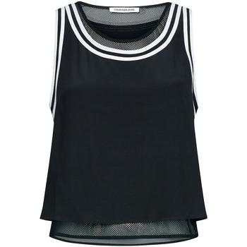Textil Ženy Tílka / Trička bez rukávů  Calvin Klein Jeans TANK WITH MESH LININ, BAE Nero