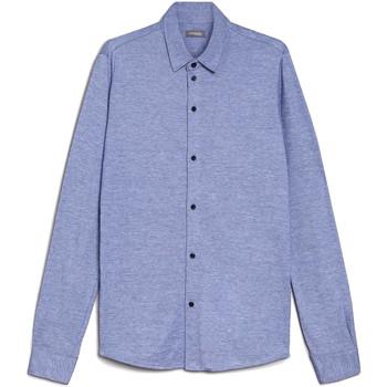 Textil Muži Košile s dlouhymi rukávy NeroGiardini E072300U Modrý