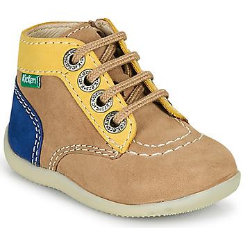 Boty Chlapecké Kotníkové boty Kickers BONZIP-2 Béžová / Žlutá / Tmavě modrá