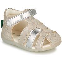 Boty Dívčí Sandály Kickers BIGFLO-2 Stříbrná