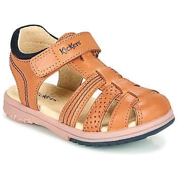 Boty Chlapecké Sandály Kickers PLATINIUM Velbloudí hnědá