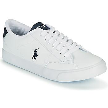 Boty Děti Nízké tenisky Polo Ralph Lauren THERON IV Bílá / Tmavě modrá