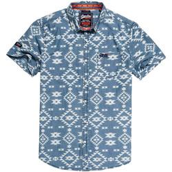 Textil Muži Košile s krátkými rukávy Superdry M40101KT Modrý