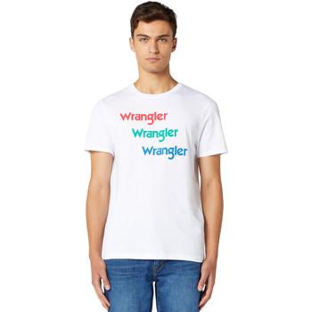 Textil Muži Trička s krátkým rukávem Wrangler W7D7D3989 Bílý