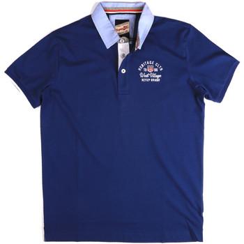 Textil Muži Polo s krátkými rukávy Key Up 2G85R 0001 Modrý