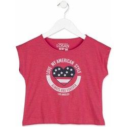 Textil Dívčí Trička s krátkým rukávem Losan 814-1023AB Růžový