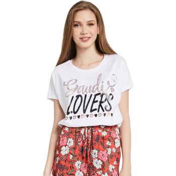 Textil Ženy Trička s krátkým rukávem Gaudi 011BD64008 Bílý