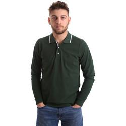 Textil Muži Polo s dlouhými rukávy Key Up 2L711 0001 Zelený