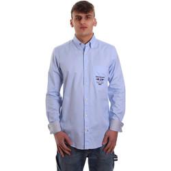 Textil Muži Košile s dlouhymi rukávy Navigare NV91061 BD Modrý
