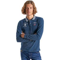 Textil Muži Polo s dlouhými rukávy La Martina OMP325 JS005 Modrý