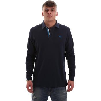 Textil Muži Polo s dlouhými rukávy La Martina OMP007 JS169 Modrý