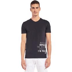 Textil Muži Trička s krátkým rukávem Gaudi 011BU64071 Černá