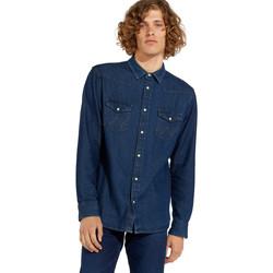 Textil Muži Košile s dlouhymi rukávy Wrangler W5MSLW301 Modrý