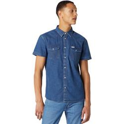 Textil Muži Košile s krátkými rukávy Wrangler W5J05D50B Modrý