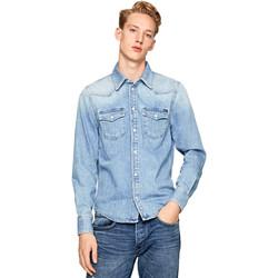 Textil Muži Košile s dlouhymi rukávy Pepe jeans PM301044PB1 Modrý