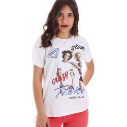 Textil Ženy Trička s krátkým rukávem Gaudi 011BD64037 Bílý