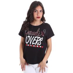 Textil Ženy Trička s krátkým rukávem Gaudi 011BD64008 Černá