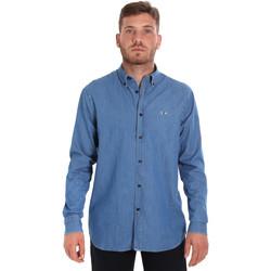 Textil Muži Košile s dlouhymi rukávy Les Copains 9U2361 Modrý