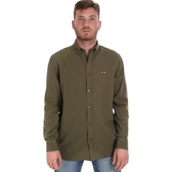 Textil Muži Košile s dlouhymi rukávy Les Copains 9U2371 Zelený