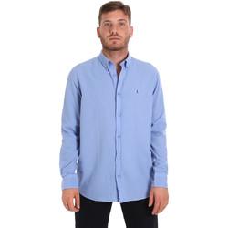 Textil Muži Košile s dlouhymi rukávy Les Copains 9U2371 Modrý