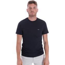 Textil Muži Trička s krátkým rukávem Les Copains 9U9011 Modrý
