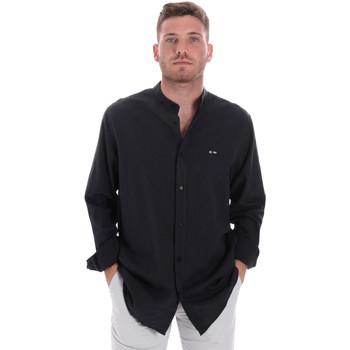 Textil Muži Košile s dlouhymi rukávy Les Copains 9U2722 Modrý